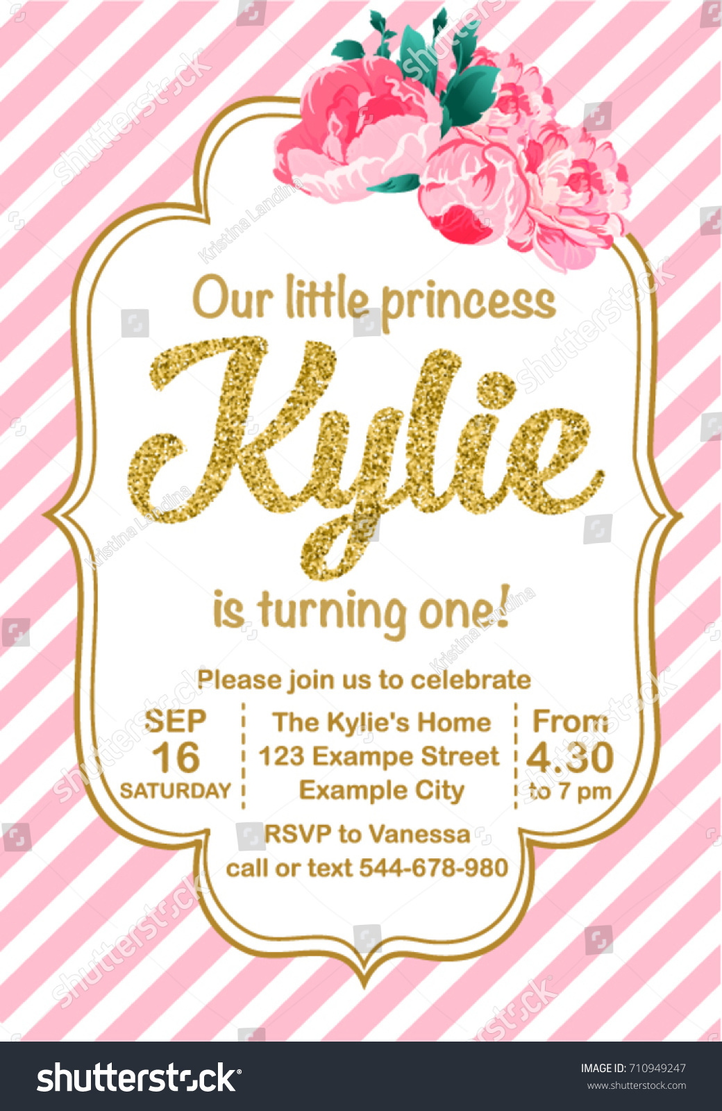 First Birthday Party Invitation Girl Kylie Stock Vector (Royalty ...