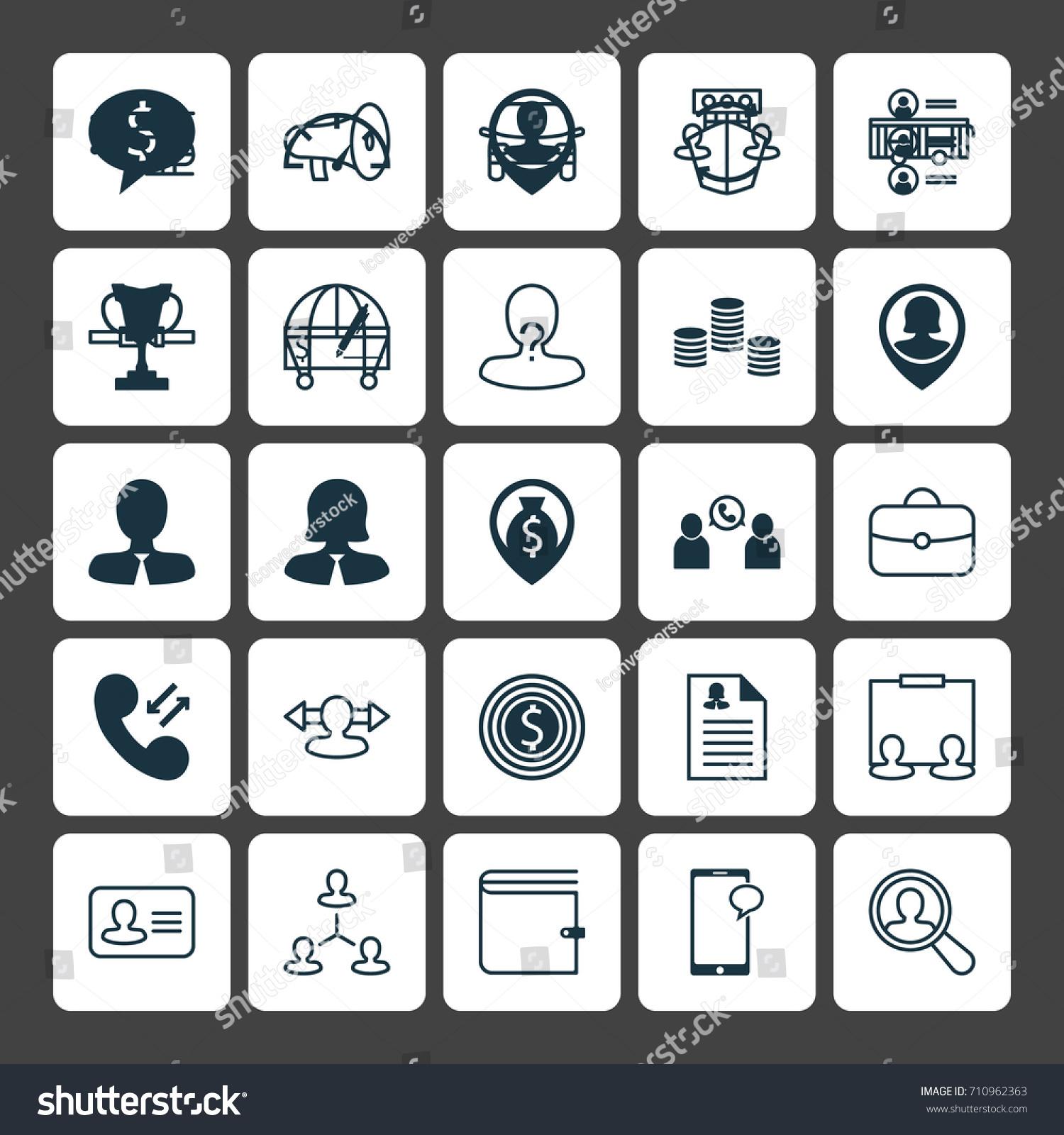 Human Icons Set Collection Job Applicants Stock Vector 710962363