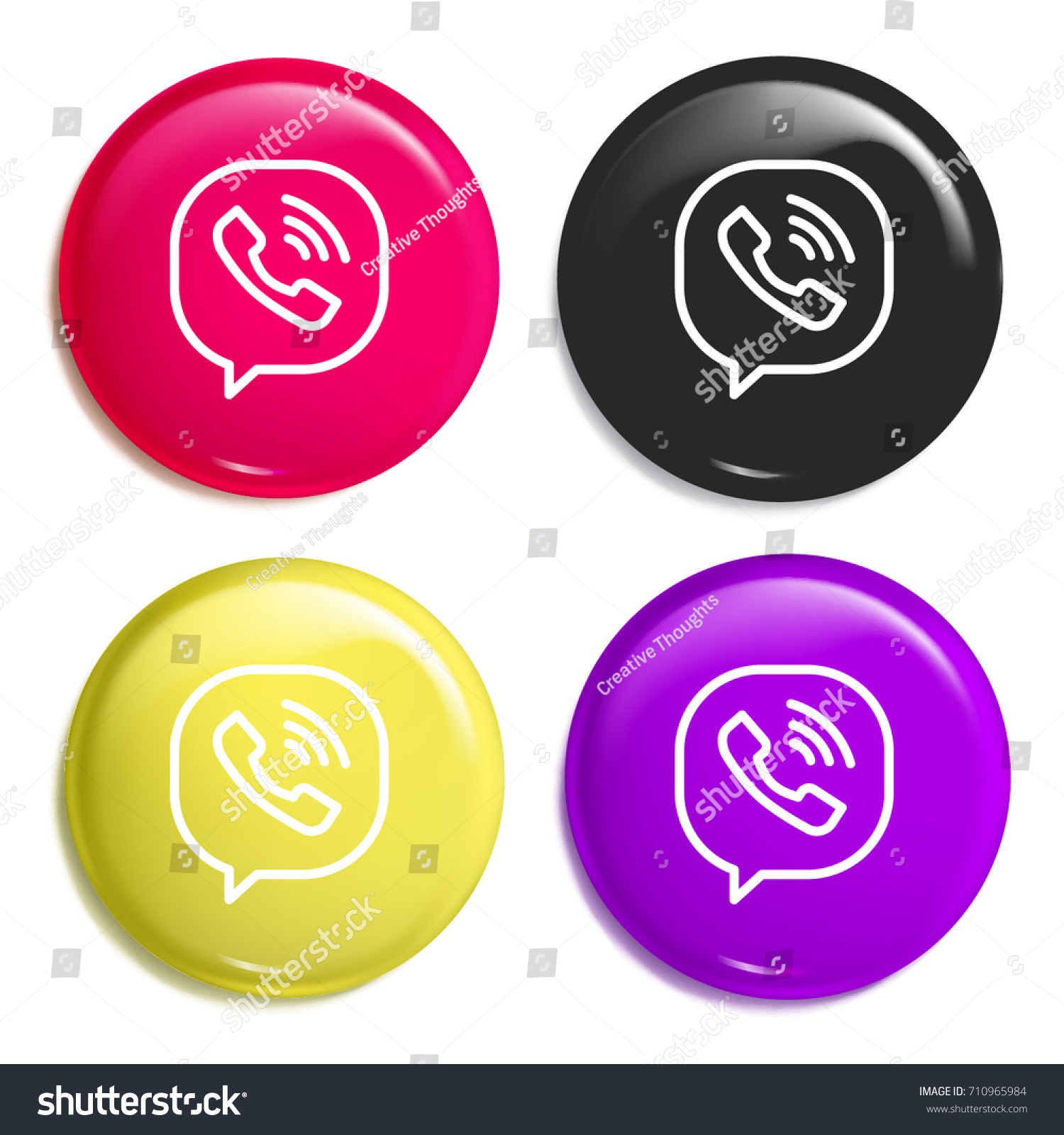 Viber Multi Color Glossy Badge Icon Stock Vector Royalty Free