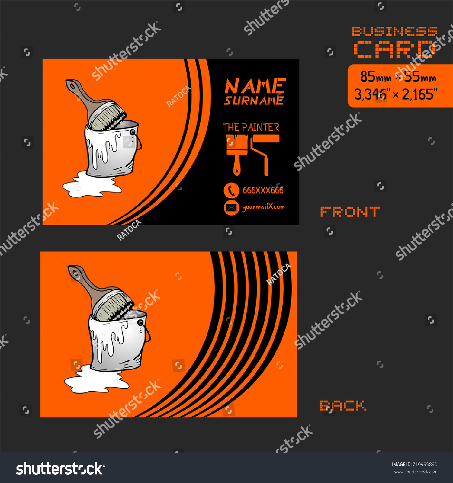 Business card painter worker stock vector 710999890 shutterstock business card for painter worker magicingreecefo Gallery
