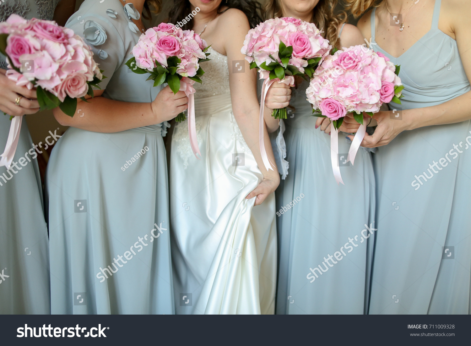 Bride Flowers Maids Honor Stock Photo (Royalty Free) 711009328 ...