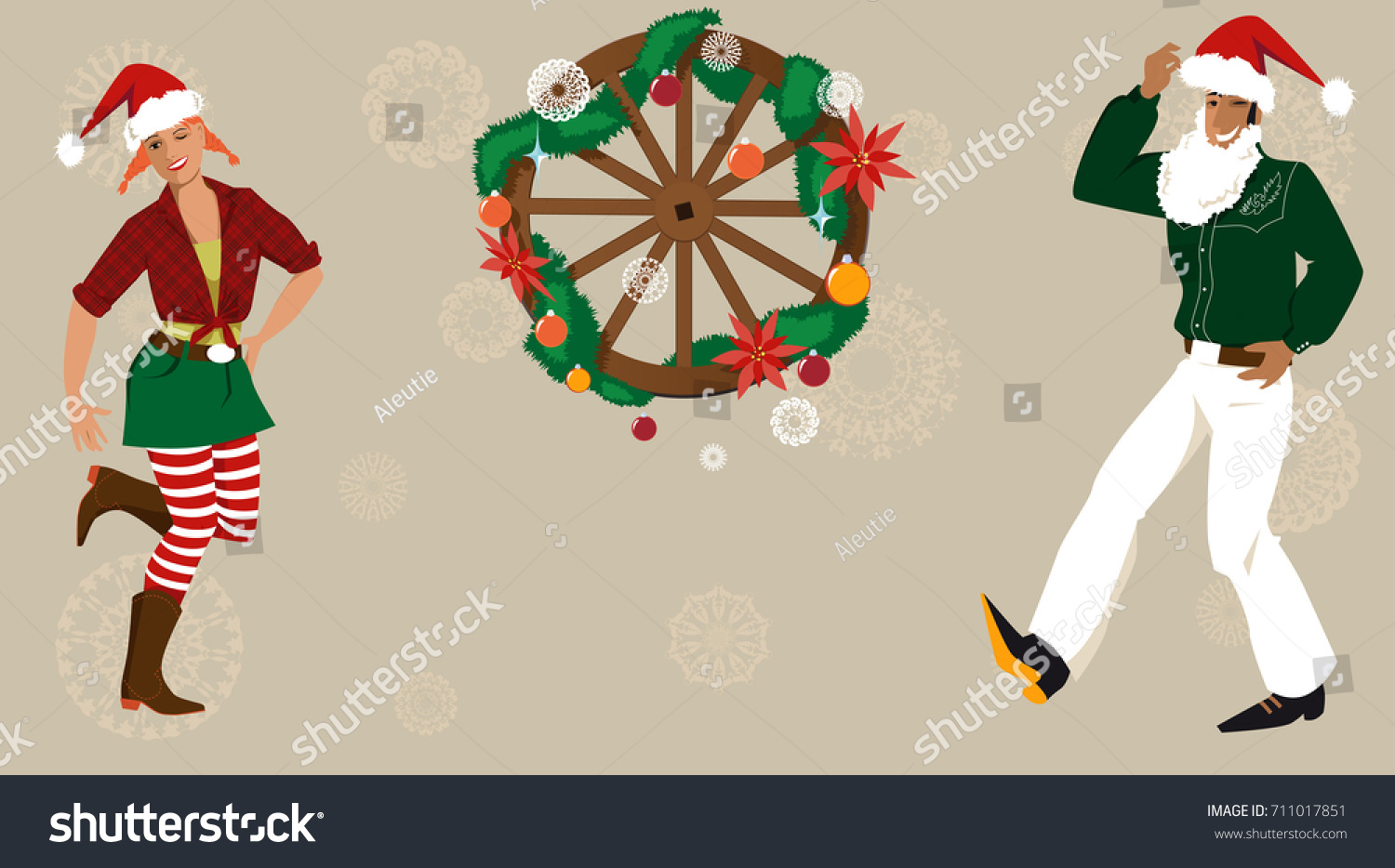 Cowboy Cowgirl Christmas Hats Decorated Wagon Stock Vector (Royalty ...
