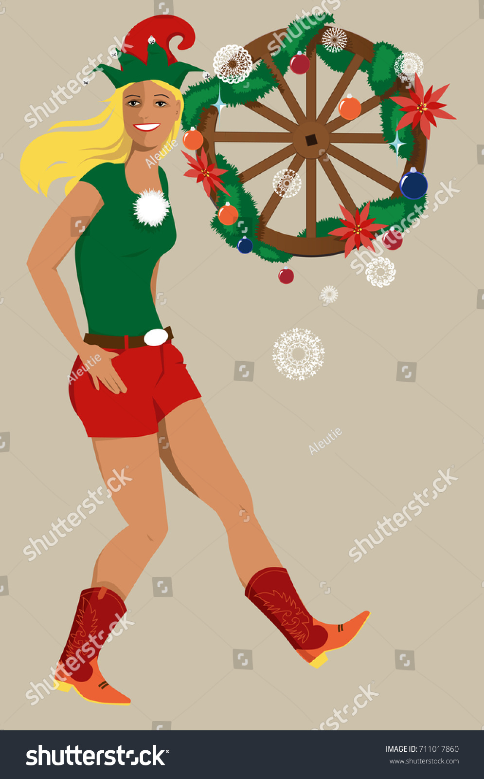 Young Woman Christmas Elf Hat Country Stock Vector (Royalty Free ...
