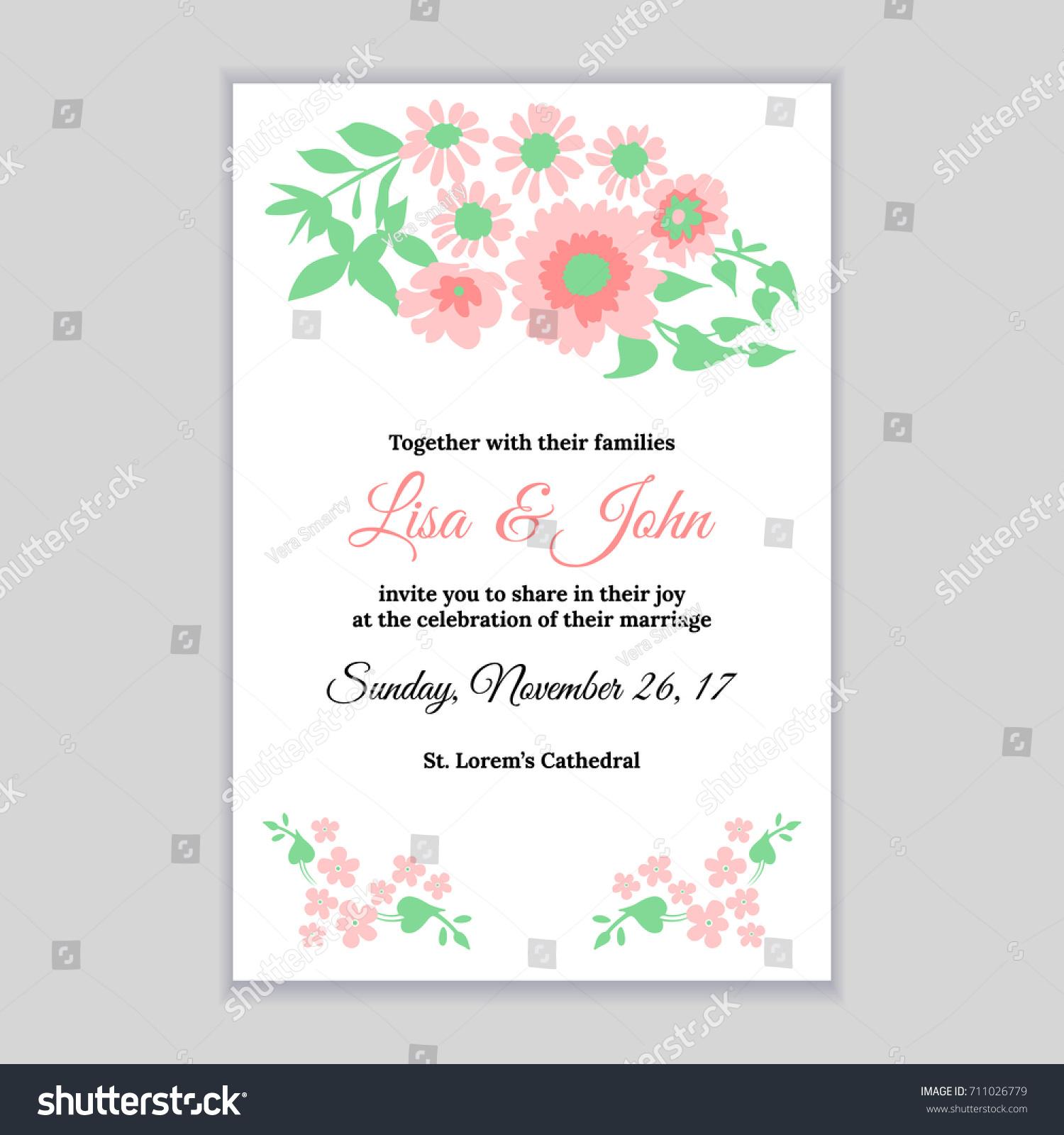 wedding invitation pink daisy flowers bridal stock vector royalty