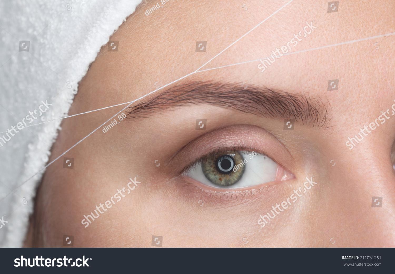 Makeup Artist Plucks Her Eyebrows Thread Stock Photo Edit Now