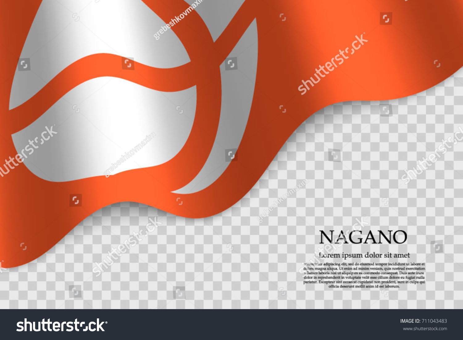 waving flag nagano prefecture japan on stock vector 711043483, Powerpoint templates