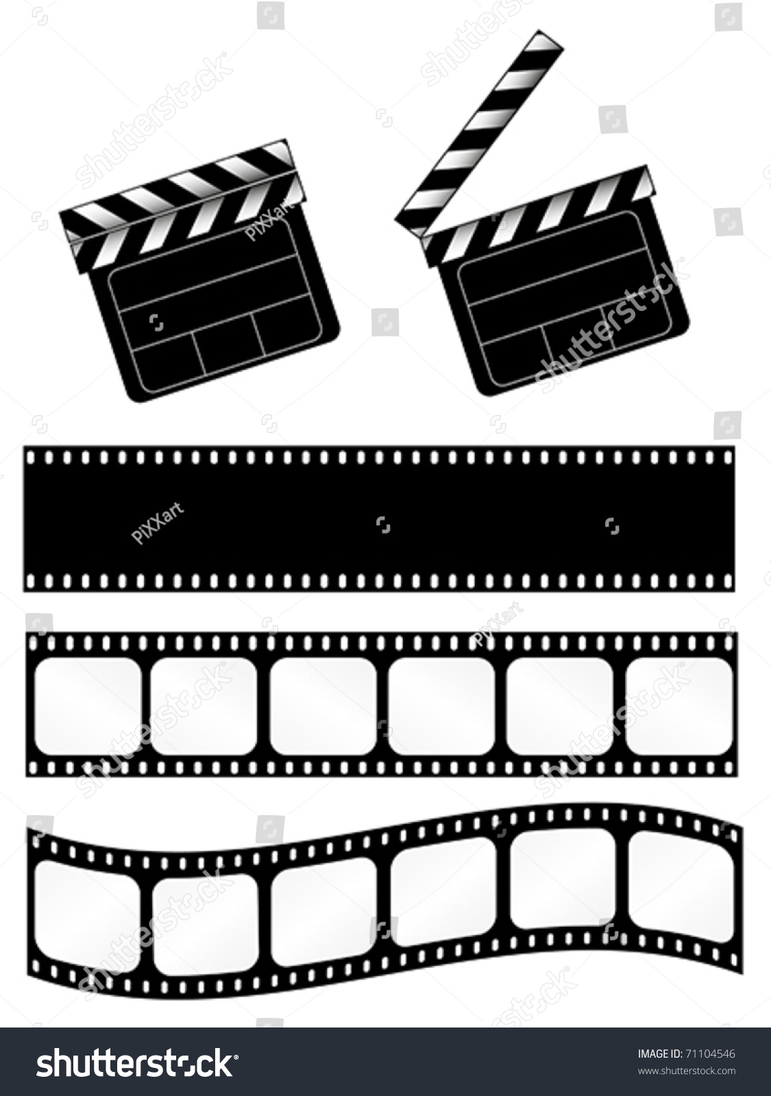 Film Strip: Movie Clapper With 3 Film Strips. Also Available As Jpeg