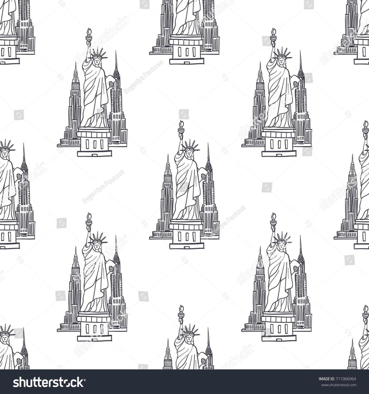 Hand Drawn Vector Seamless Pattern Symbols Stock Vector Royalty