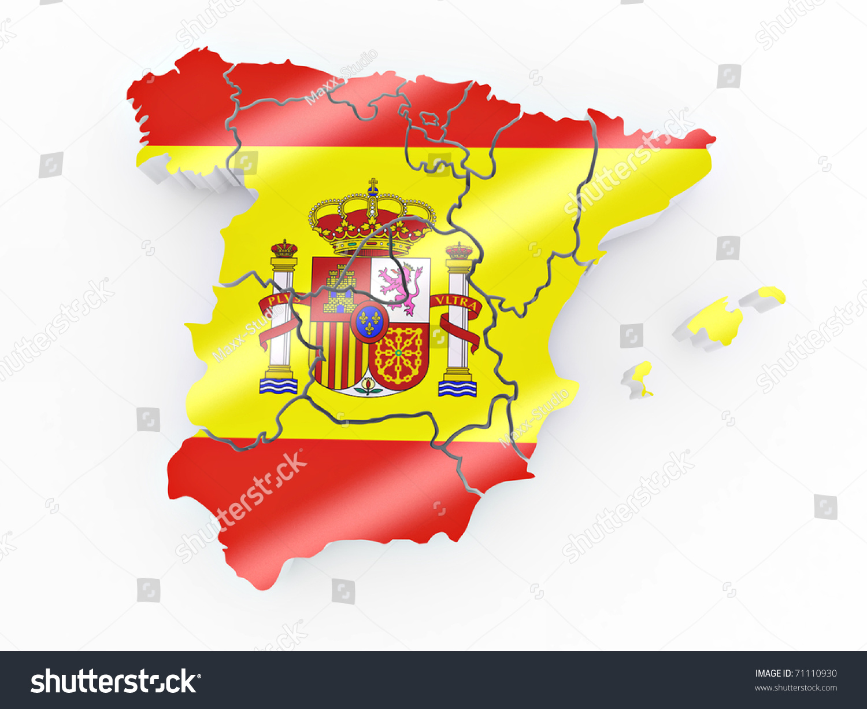 map spain spanish flag colors 3d stock illustration 71110930