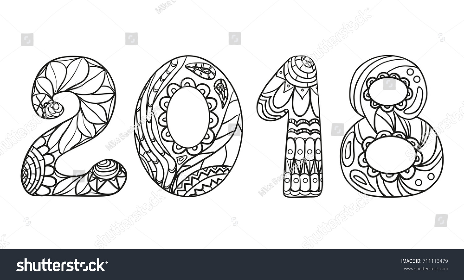 2018 Numbers Happy New Year Zentangle Stock Vector (Royalty Free ...