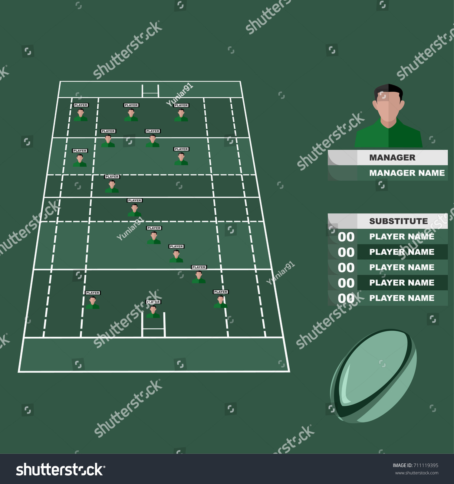Rugby Formation Board Vector Illustration Stock Vector Royalty Free 711119395