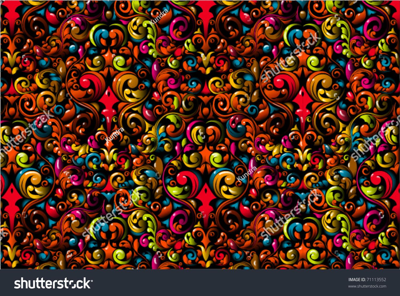 crazy floral wallpaper design stock vector hd (royalty free