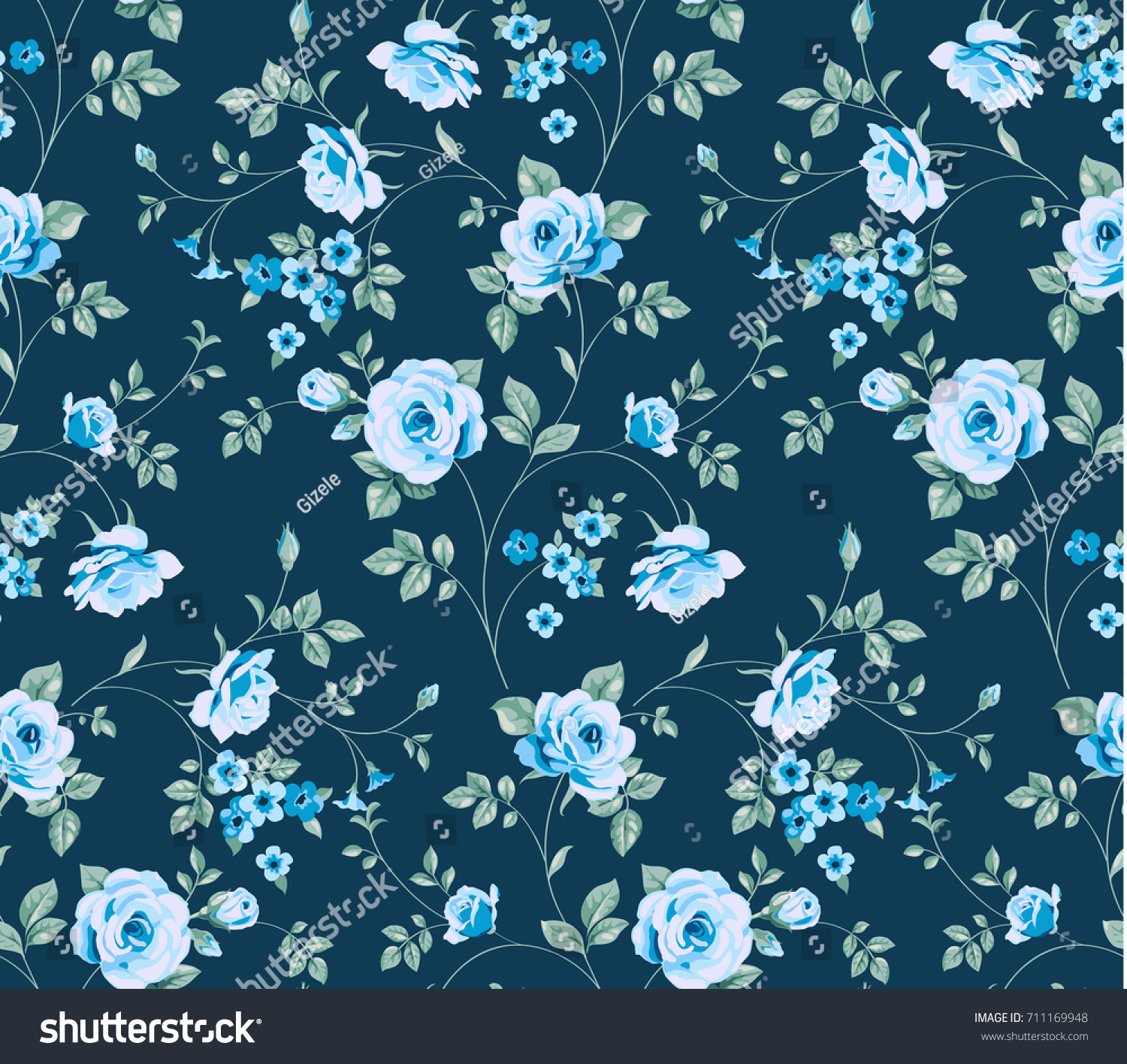 Seamless Pattern Vintage Blue Roses On Royalty Free Stock Image