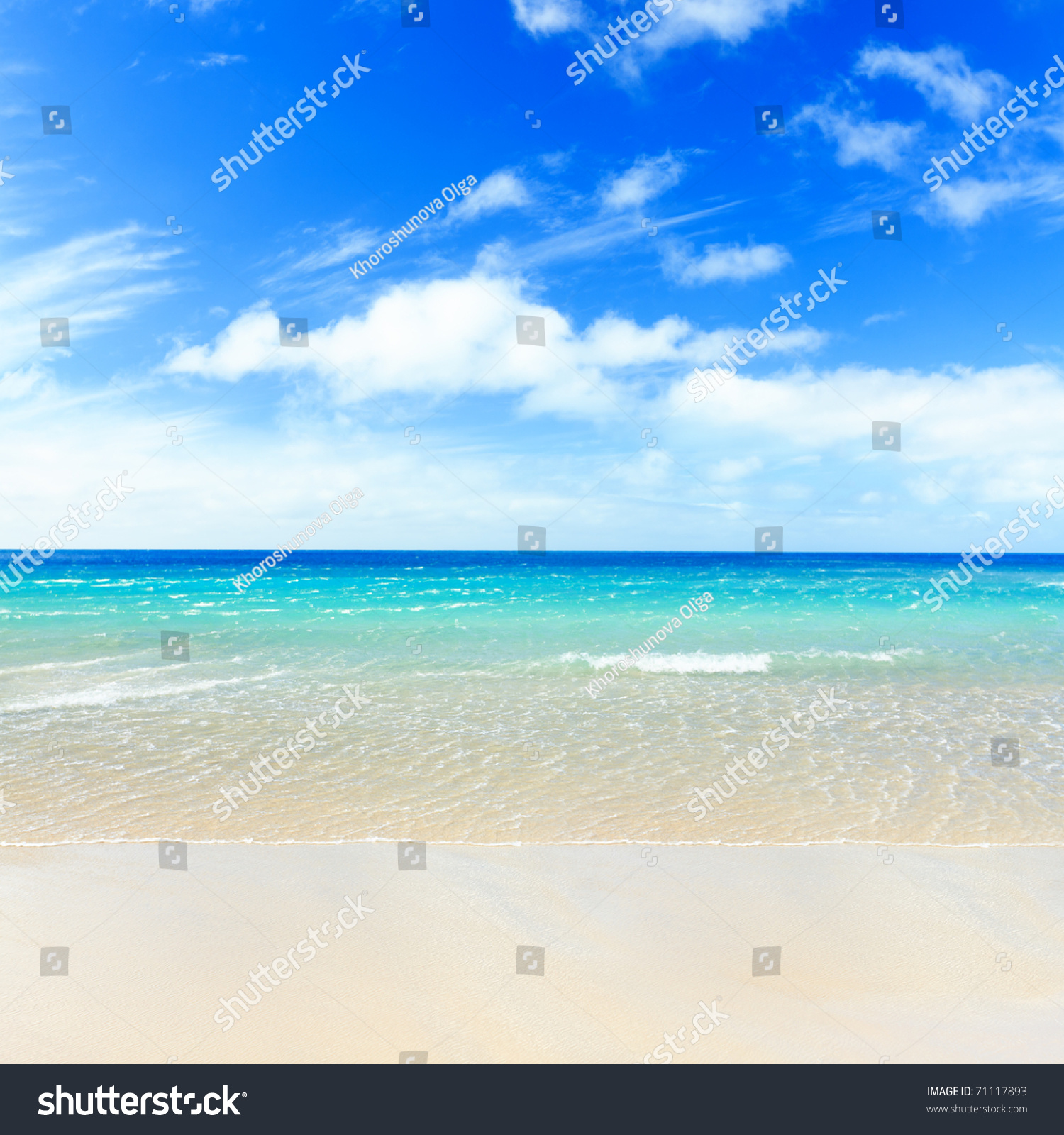 Beautiful Sunny Day At Tropical Beach Royalty Free Stock: Tropical Sandy Beach At Summer Sunny Day Stock Photo