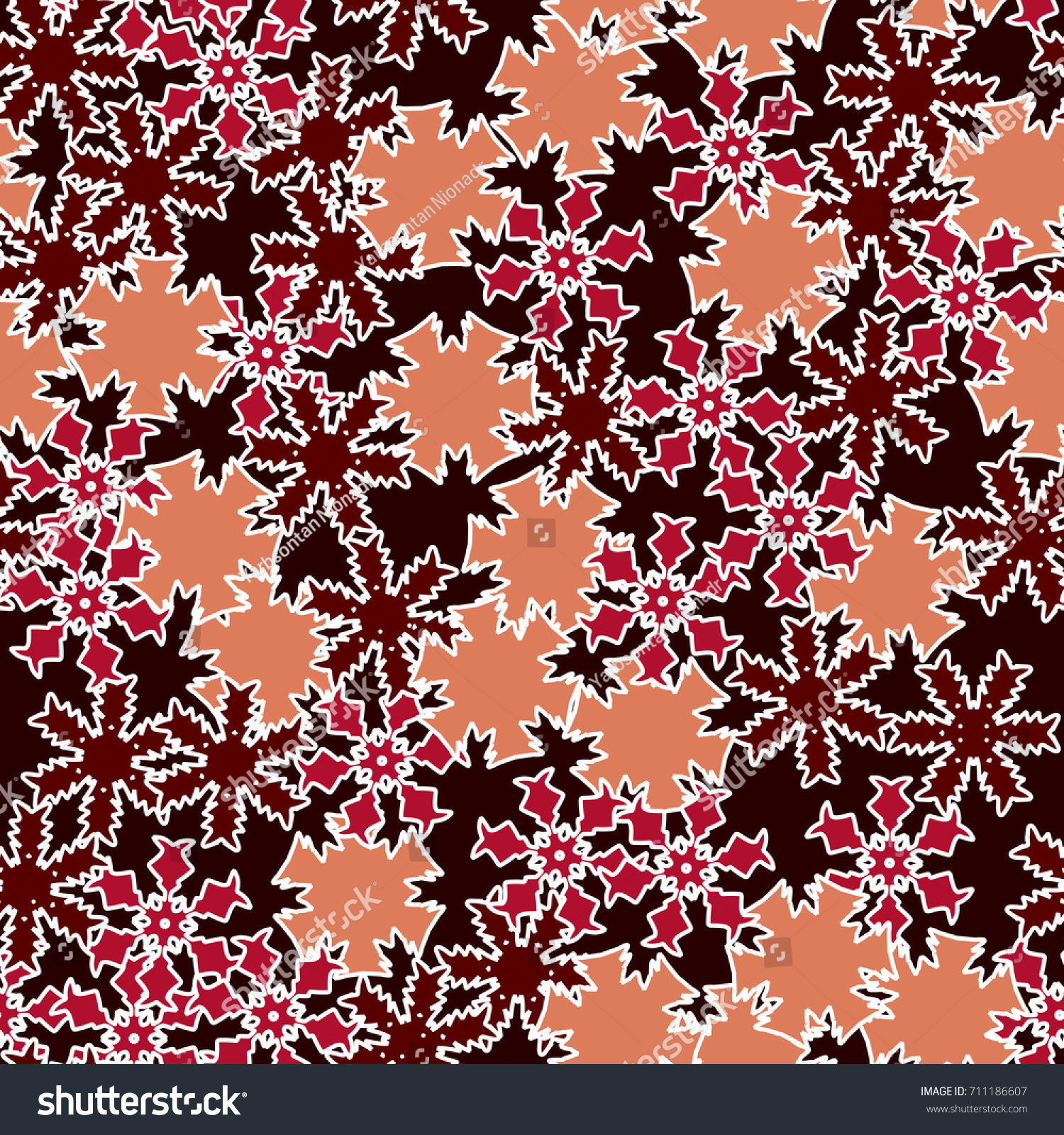 Seamless Pattern Colored Snowflakes Falling Disarray Stock Vector ...