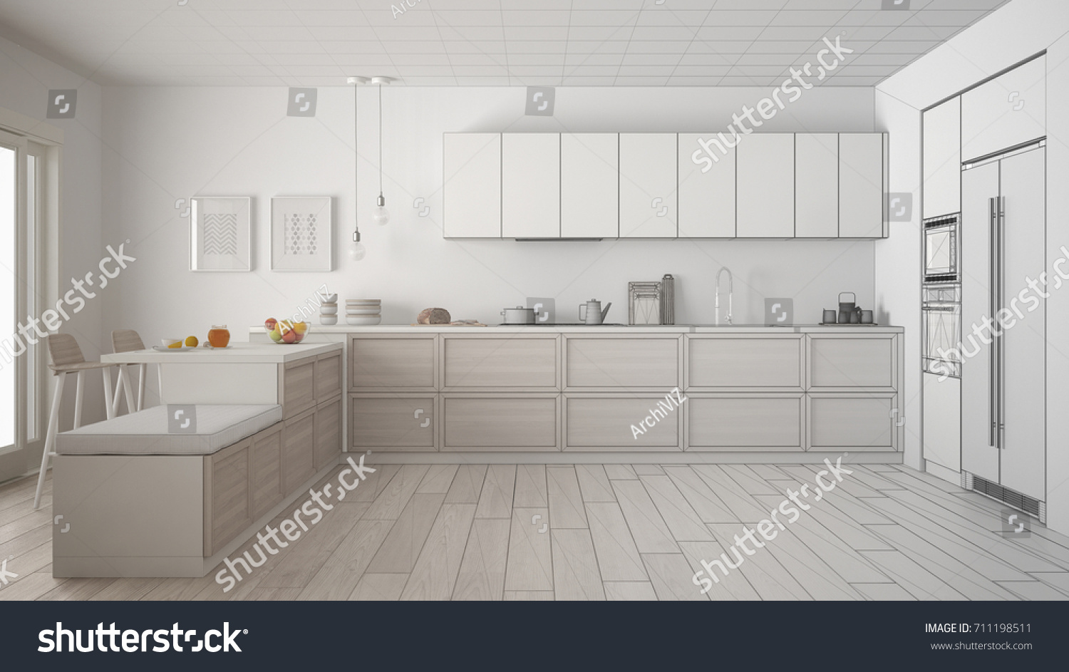Unfinished Project Classic Kitchen Wooden Details Stock Illustration ...