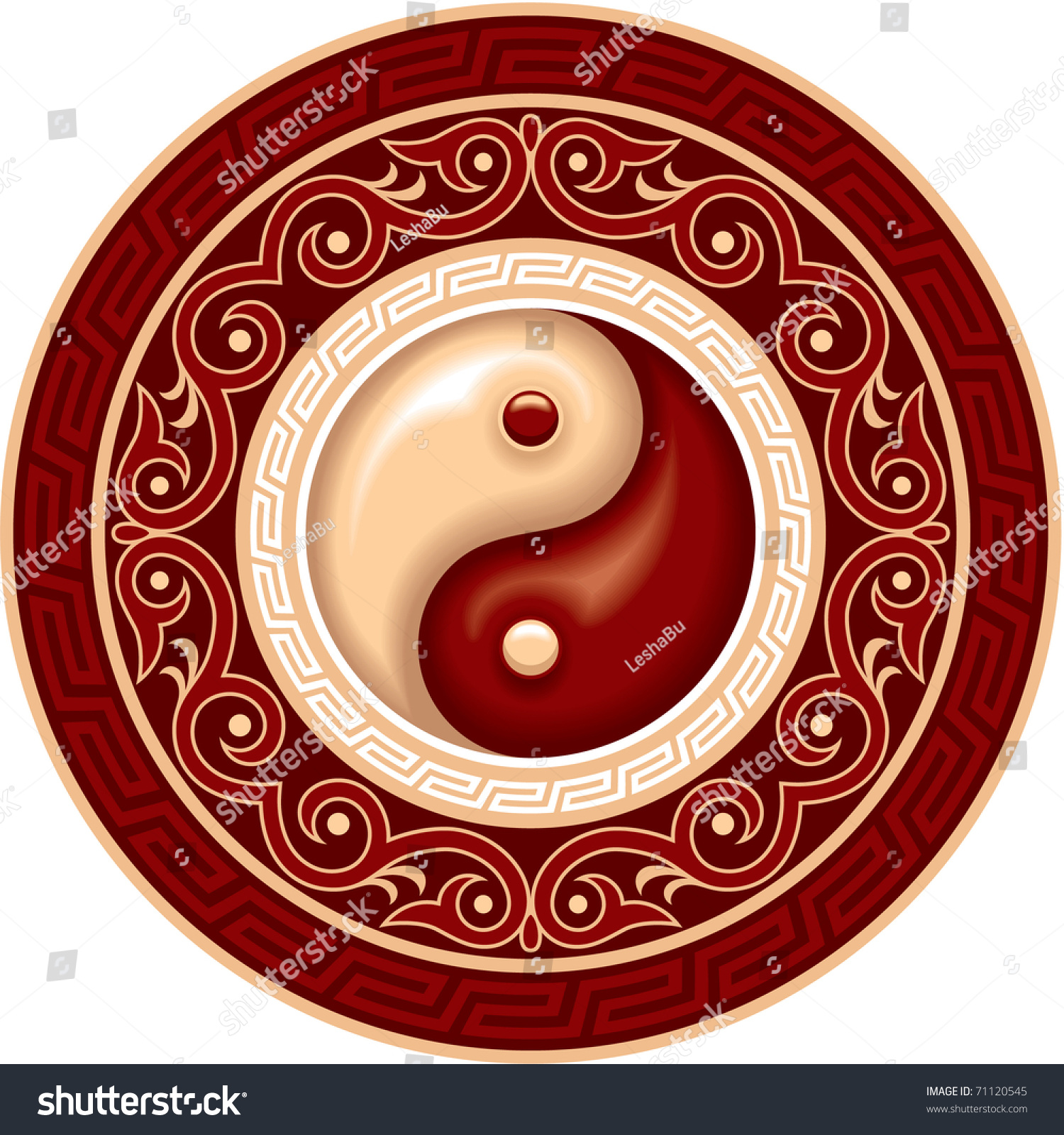 Vector ying yang symbol in round decoration plate for Decoration murale yin yang