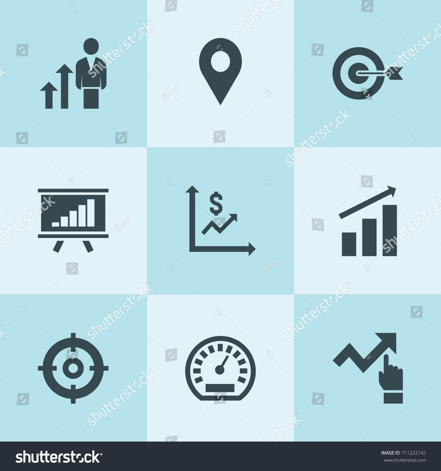 Set 9 arrow filled icons such stock vector 711222142 shutterstock set of 9 arrow filled icons such as graph chart money graph target geenschuldenfo Images