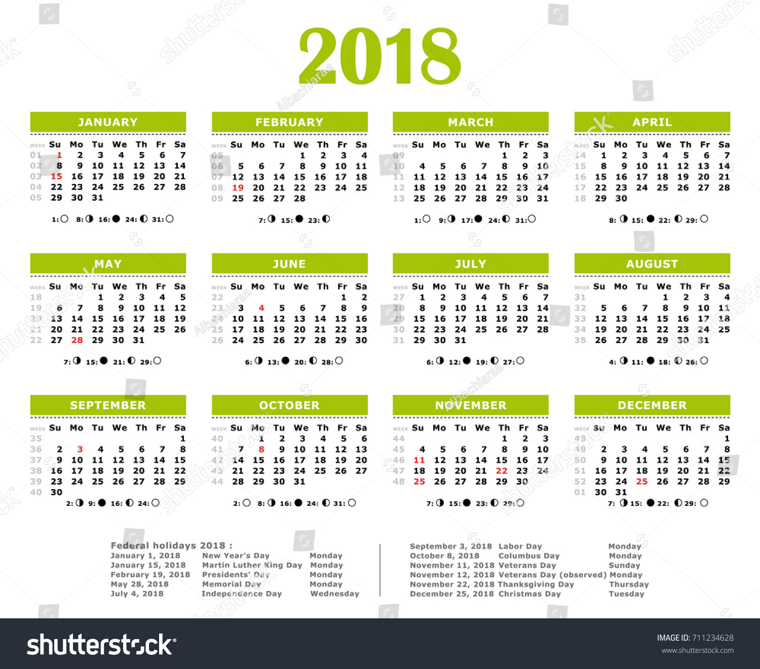 yearly calendar with holidays