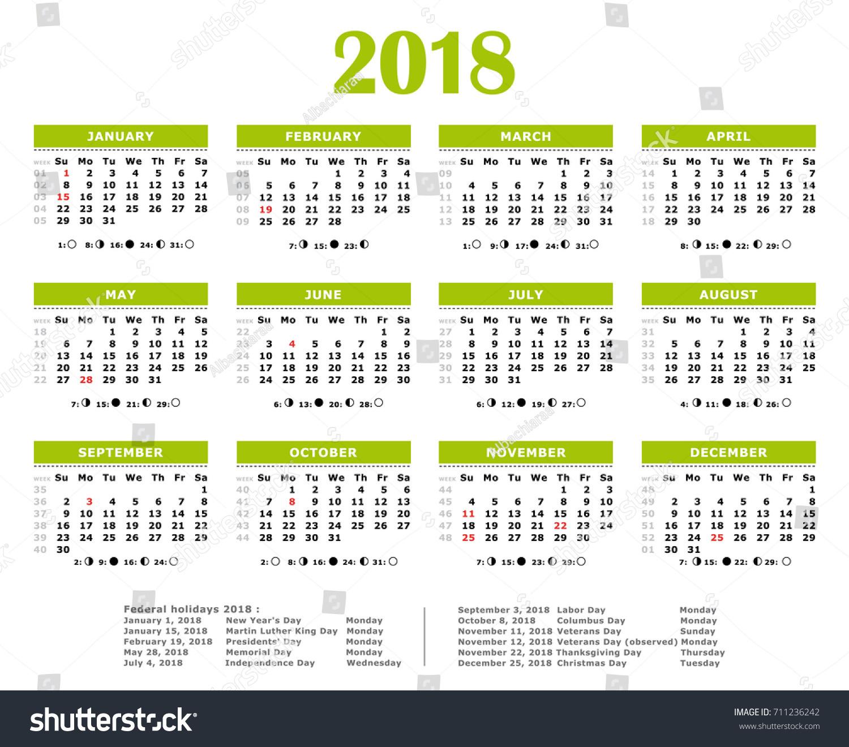 2018 Green Yearly Vector Calendar Federal Stock Vector ...