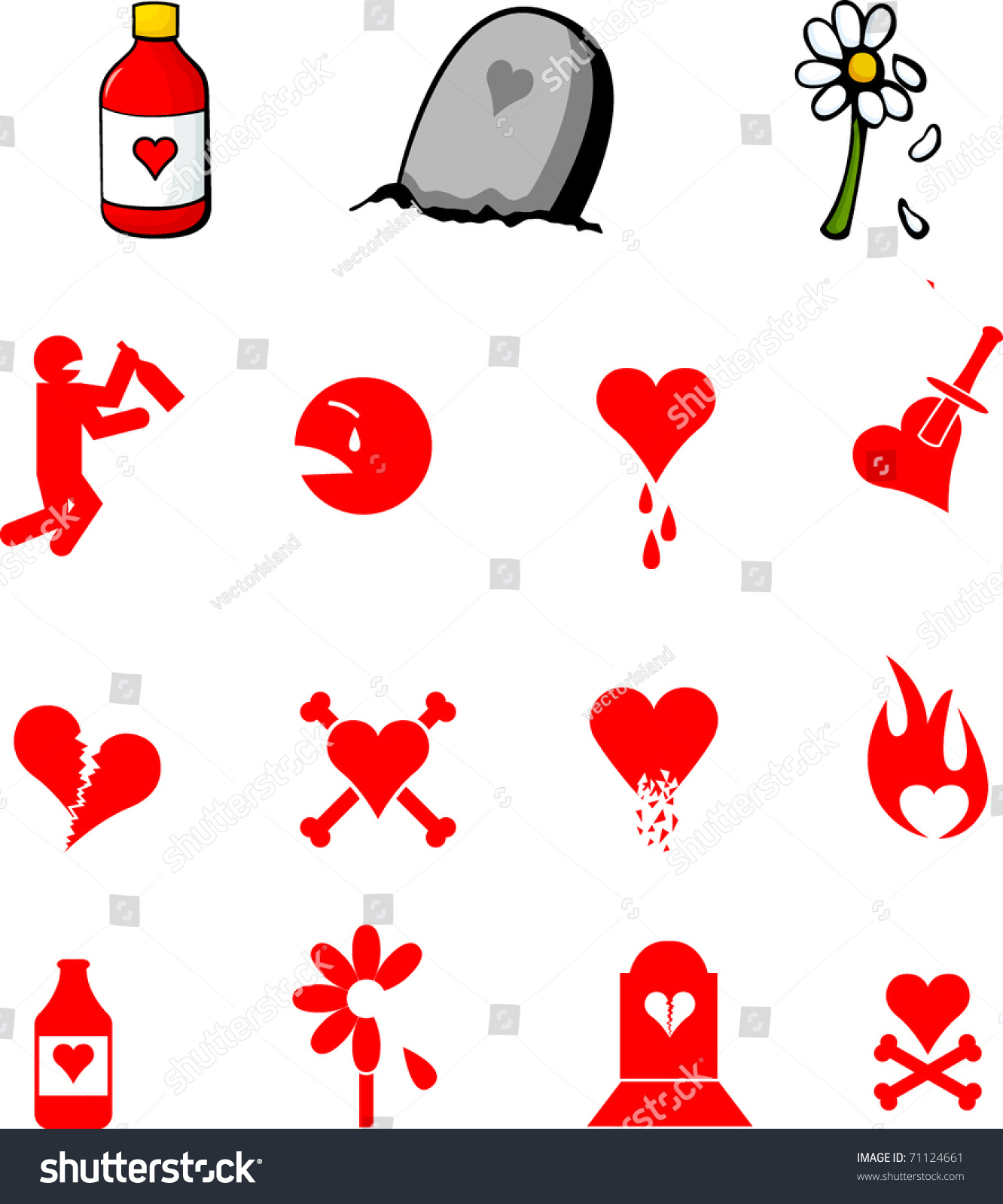 Love Sadness Depression Illustrations Symbols Set Stock ...