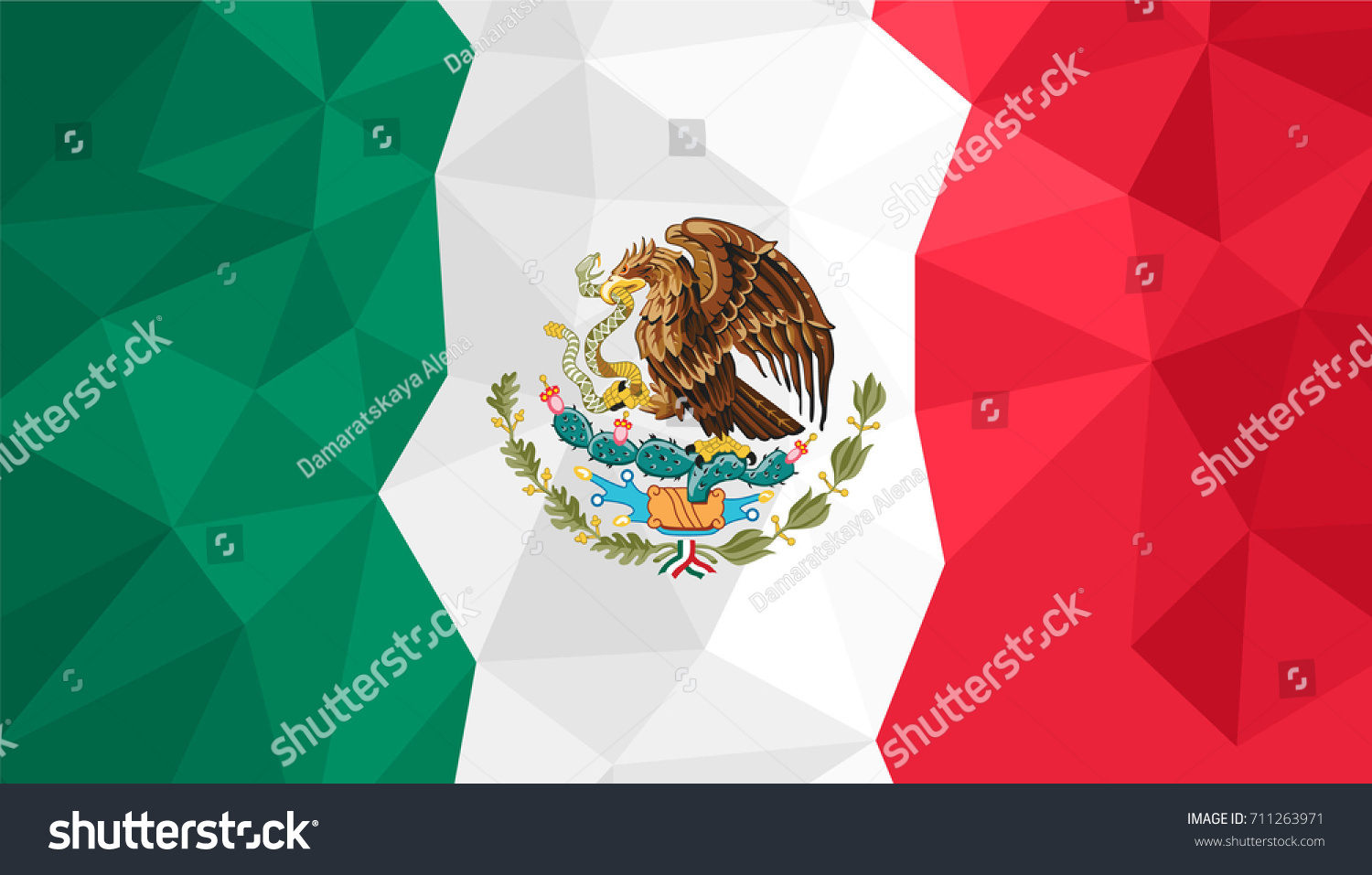 polygonal background mexico flag mexican flag stock illustration
