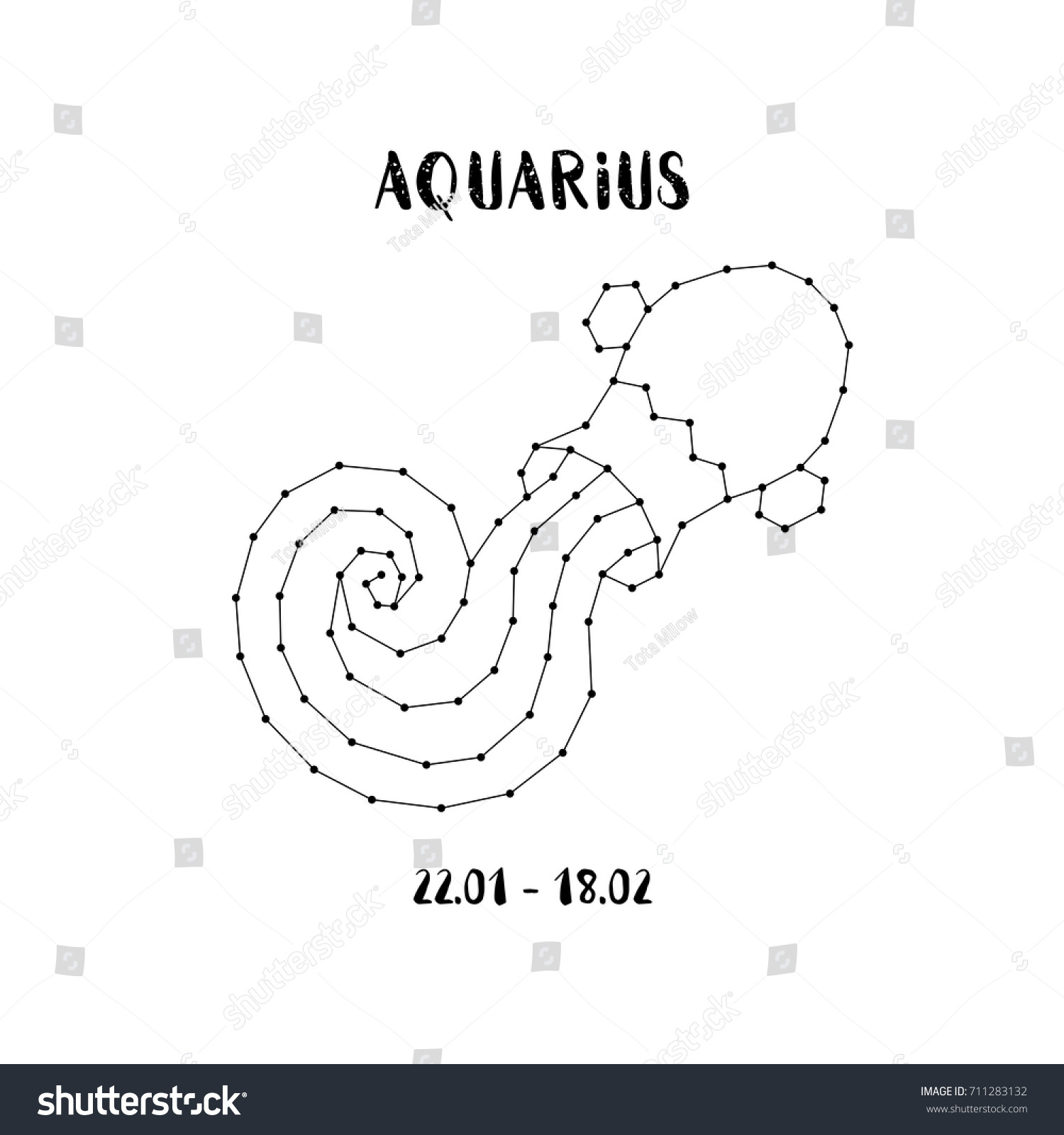 Zodiac Sign Aquarius Isolated On White Stock Vector (Royalty