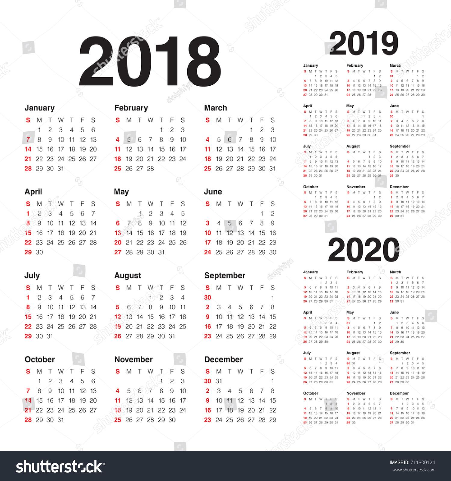 year 2018 2019 2020 calendar vector stock vector 711300124 shutterstock. Black Bedroom Furniture Sets. Home Design Ideas