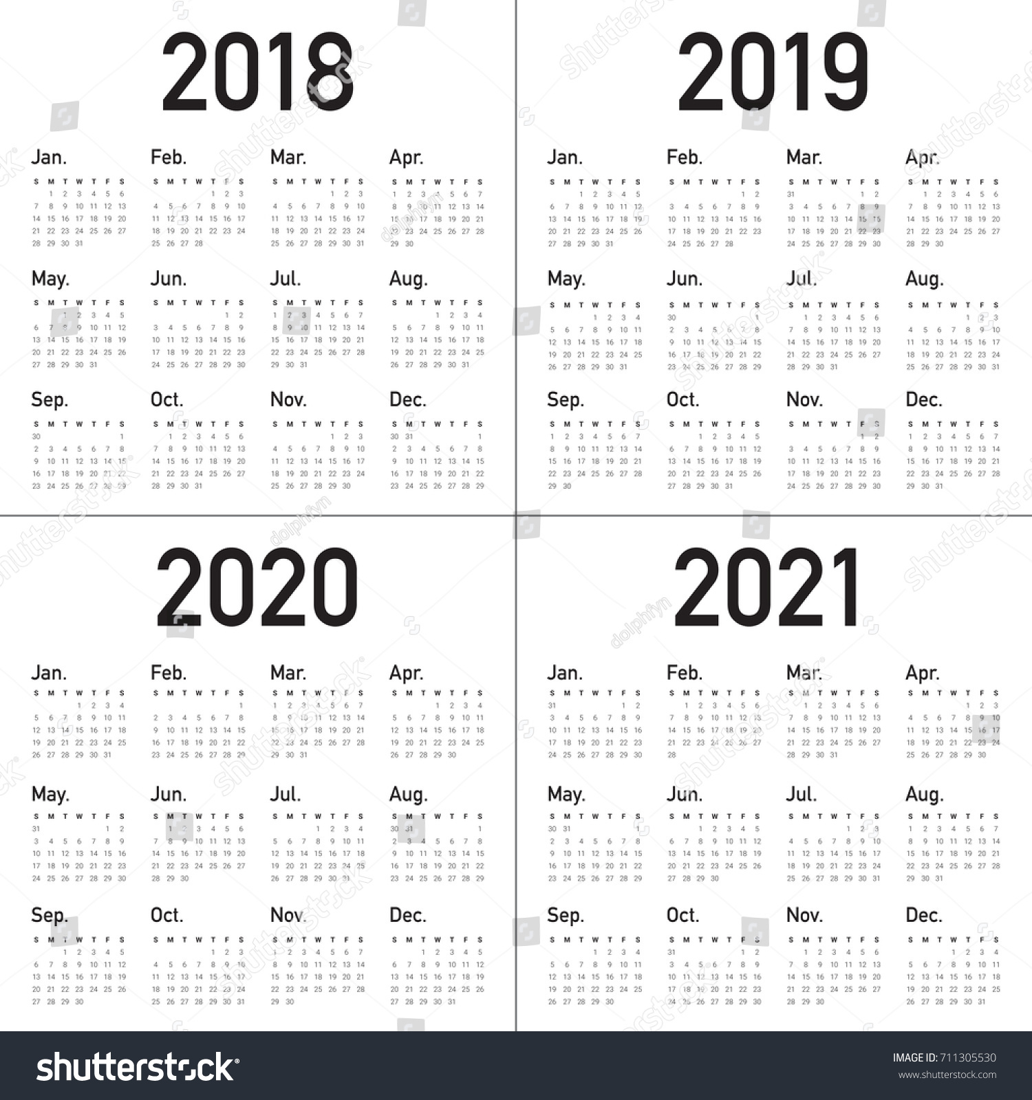 year 2018 2019 2020 2021 calendar vector design template simple and clean design