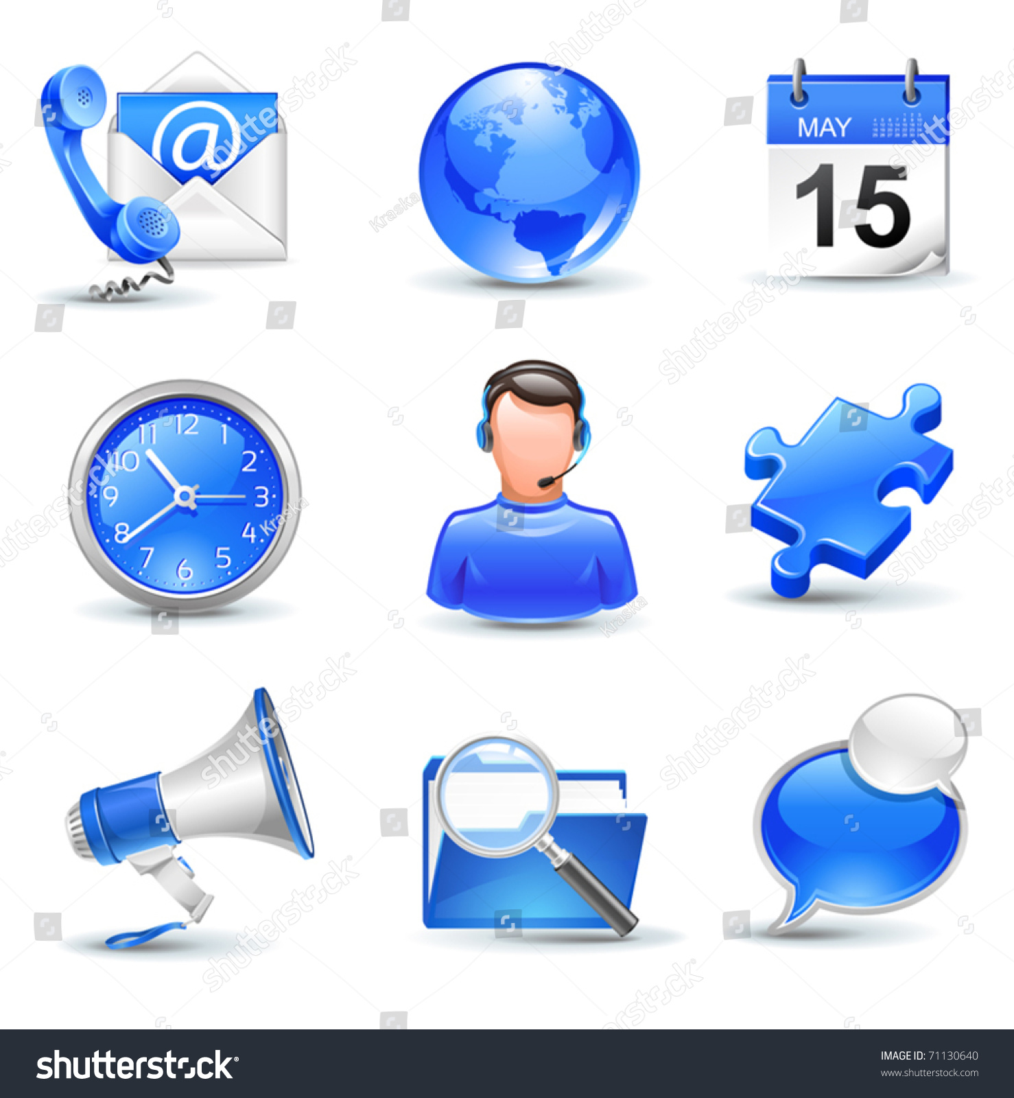 Business Icons Set Mail Contact Calendar Stock Vector