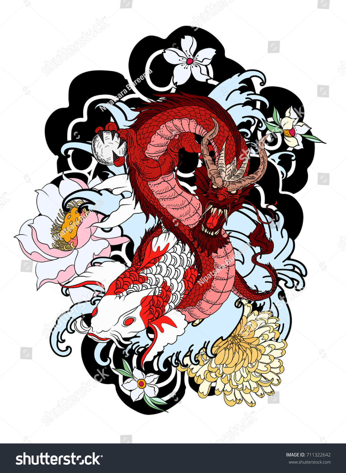 Colorful Japanese Dragon Koi Fish Flower Stock Vector 711322642 ...