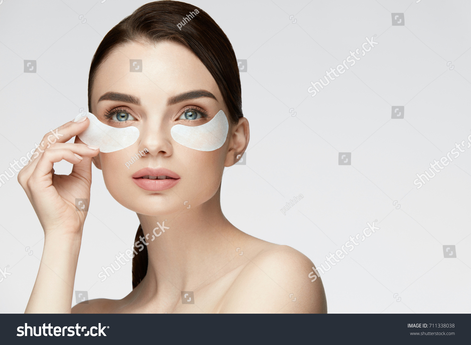 Woman Beauty Face With Mask Under Eyes Closeup Of Beautiful Sexy