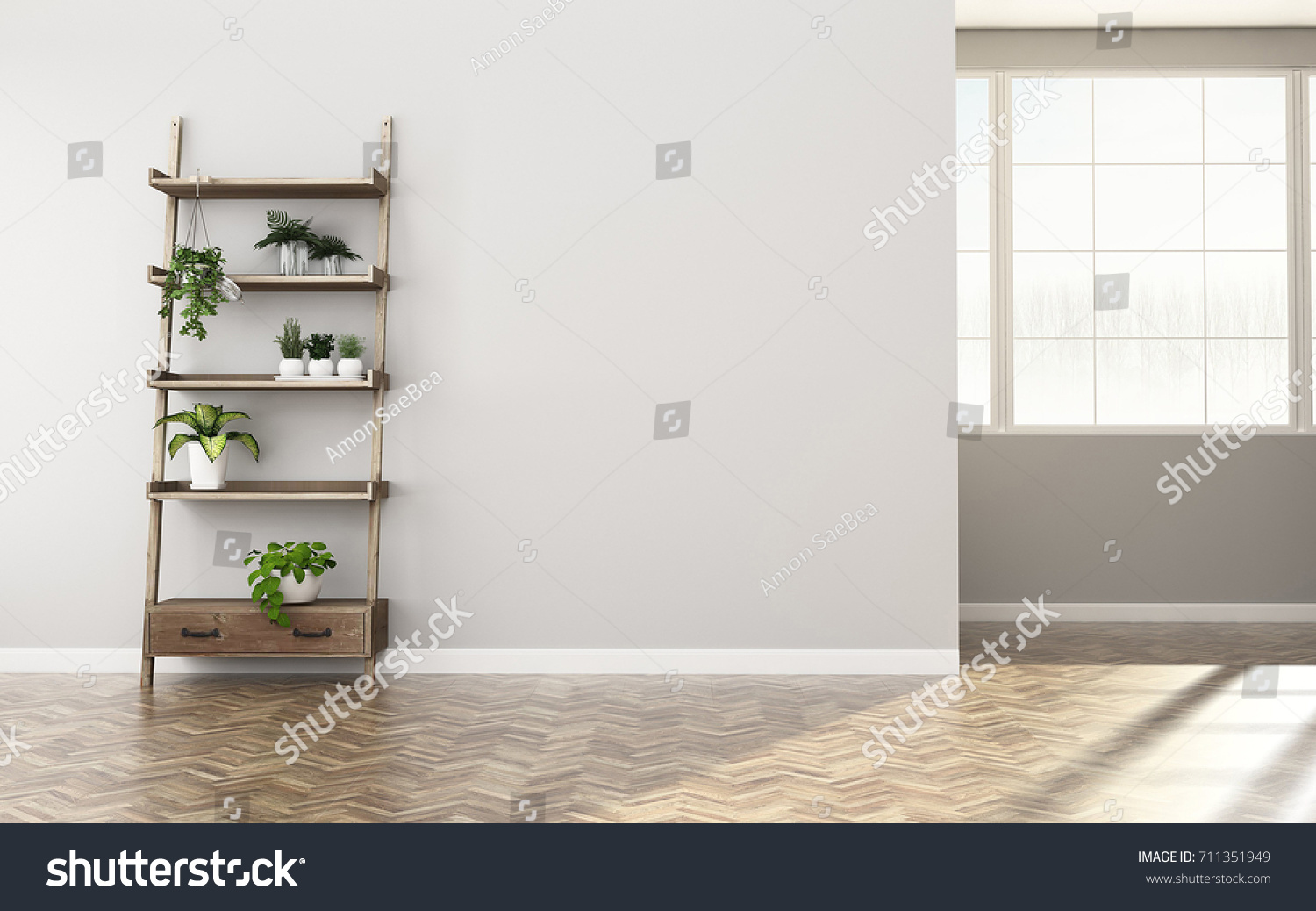 Storage Space In Apartment. Empty Room With Shelf. Vintage Interior Design.   3d