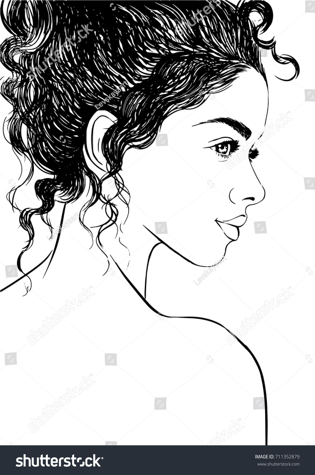 Fashion Illustration Cute Girl Curly Hair Stock Vector Royalty Free 711352879