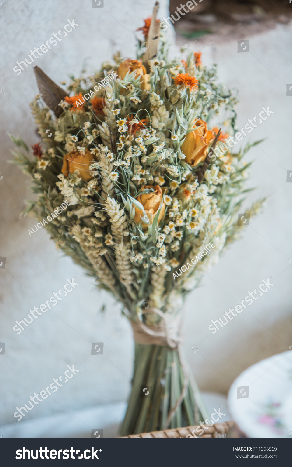 Dried flower bouquet rustic style wedding stock photo royalty free dried flower bouquet for a rustic style wedding izmirmasajfo