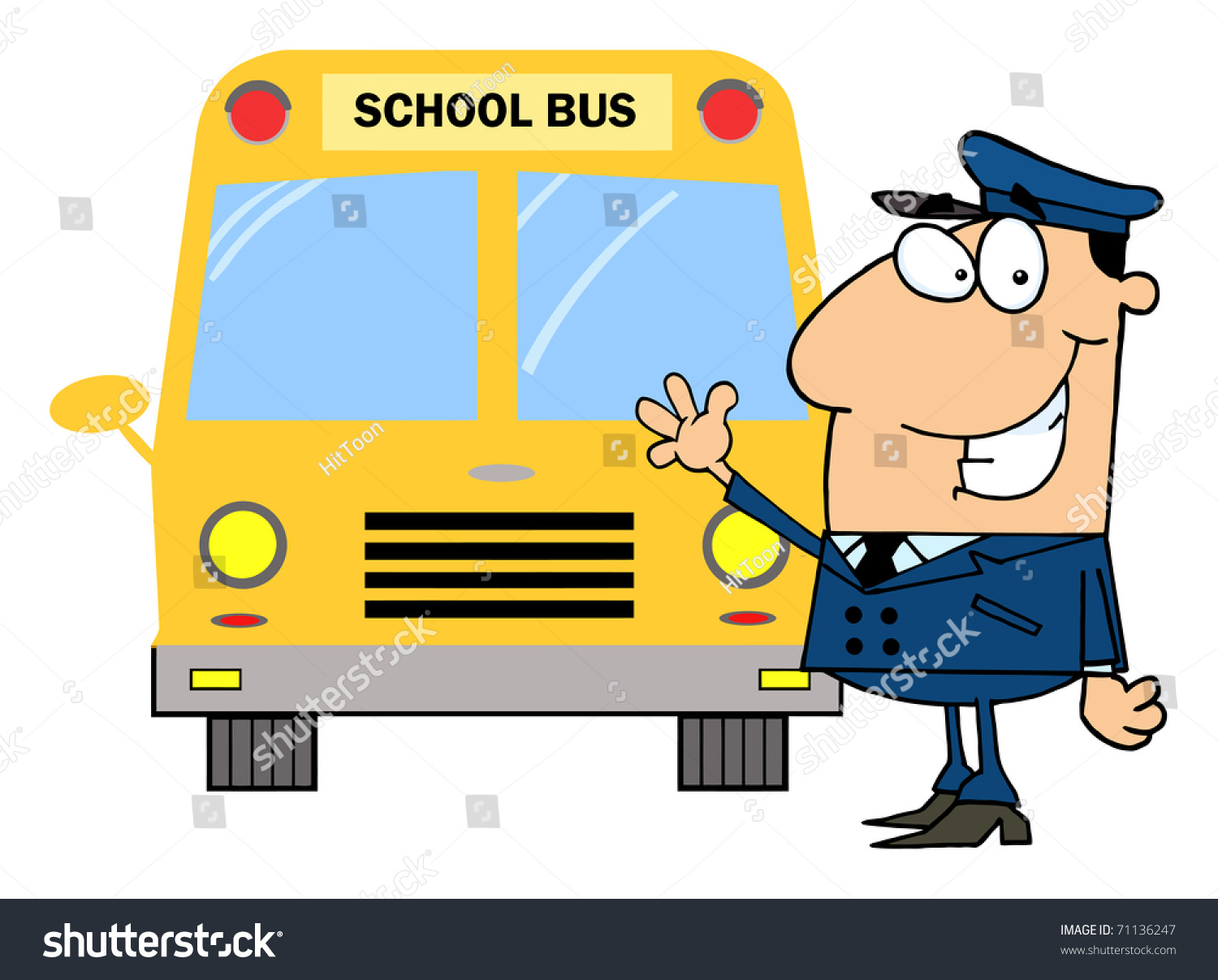 Driver Front School Bus Stock Illustration 71136247 ...