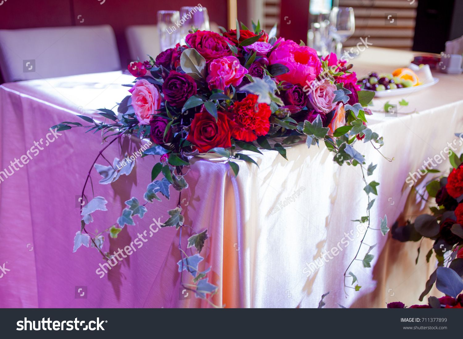 Wedding Decor Red Flowers Restaurant Table Stock Photo (Edit Now ...