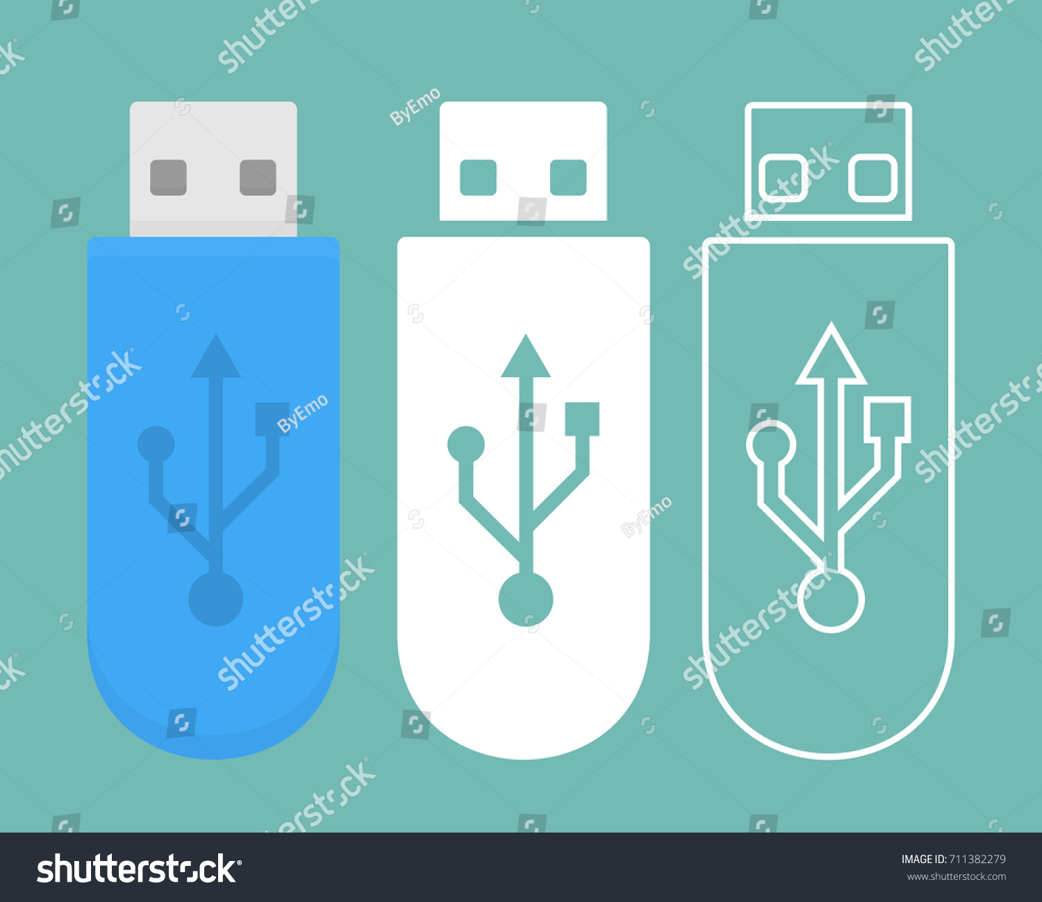 Usb stick icon three different style stock vector 711382279 usb stick icon in three different style biocorpaavc Images