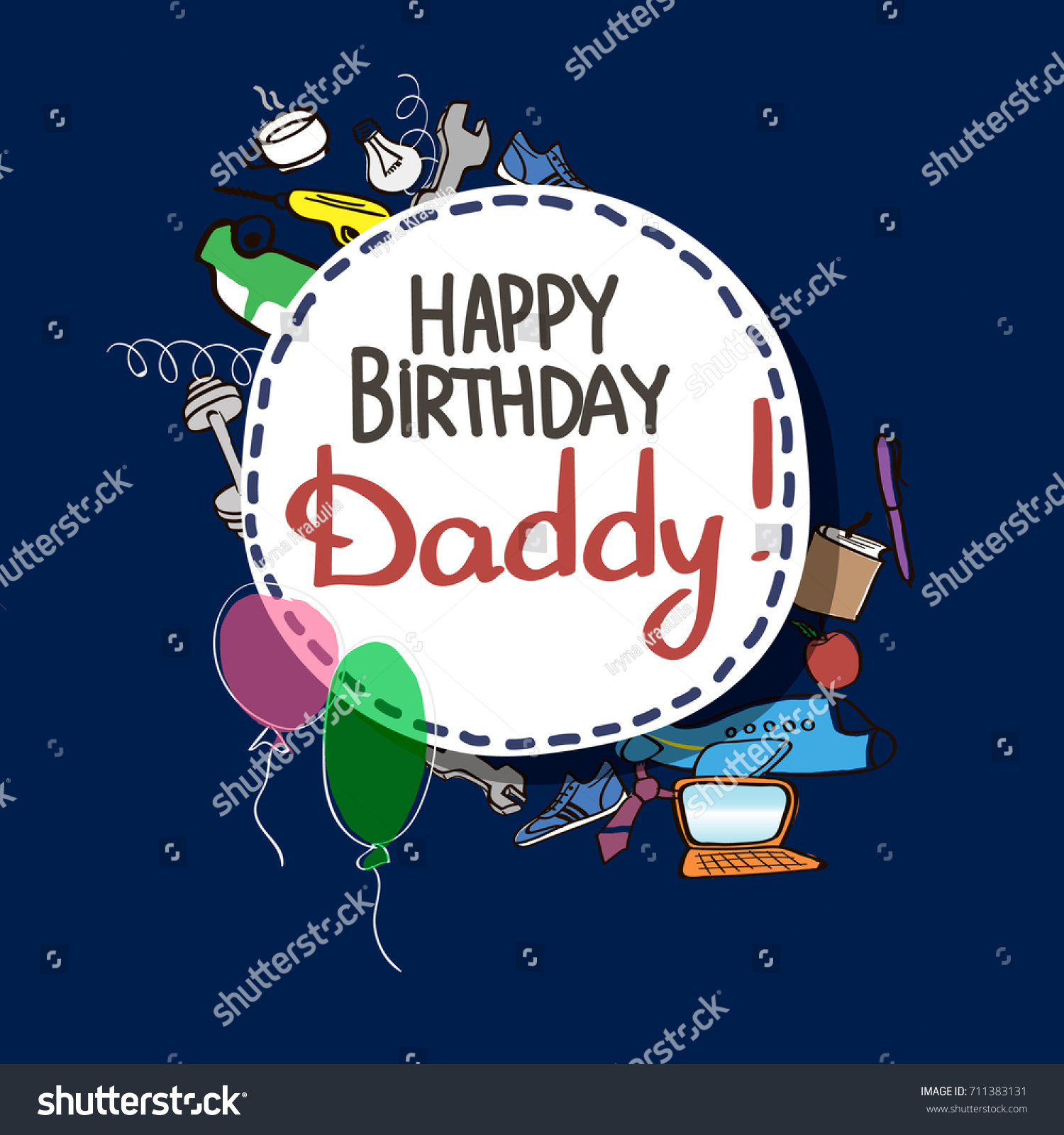vector greeting card happy birthday daddy on the dark blue background