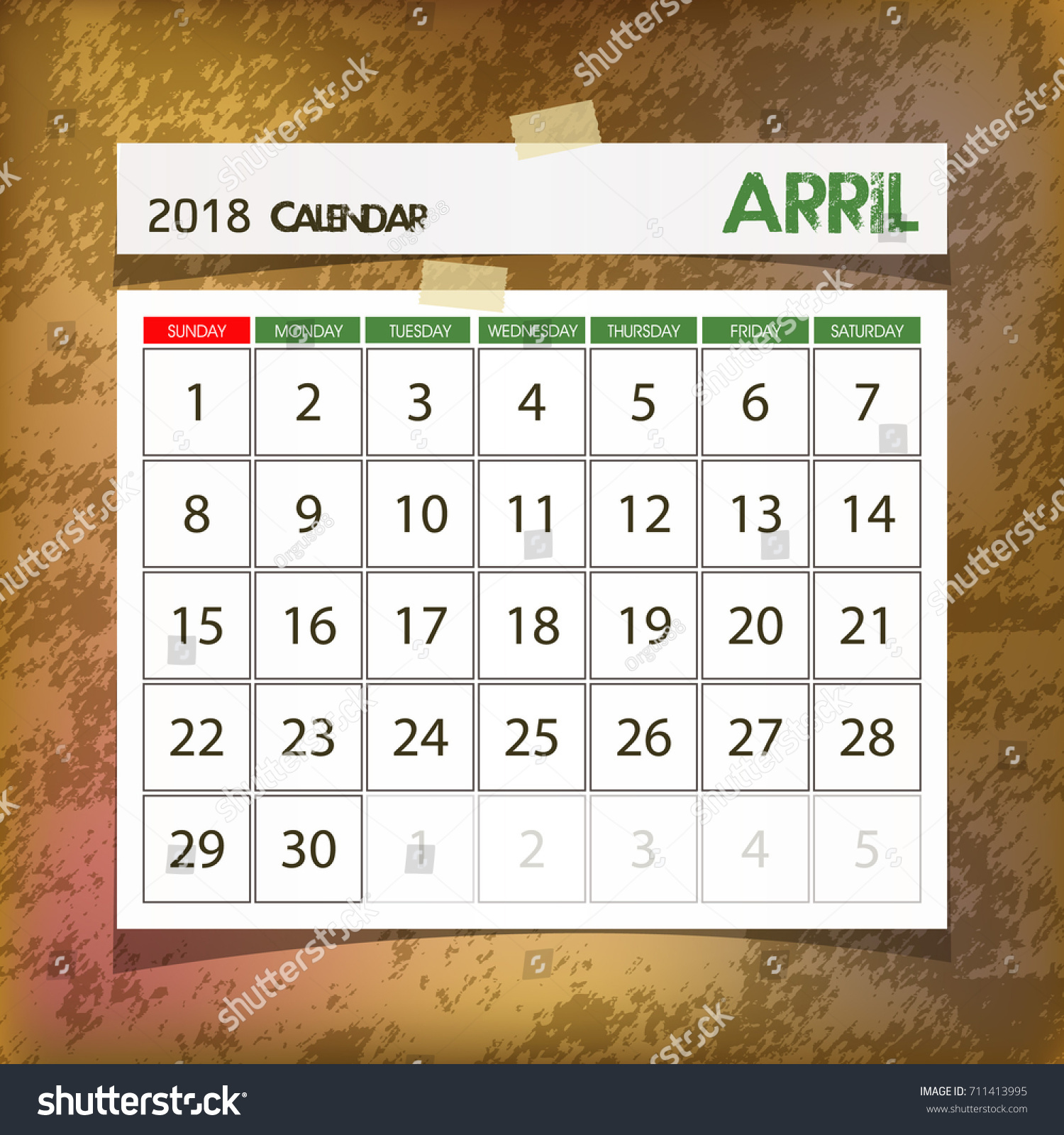 calendar 2018 april vintage paper on grunge background