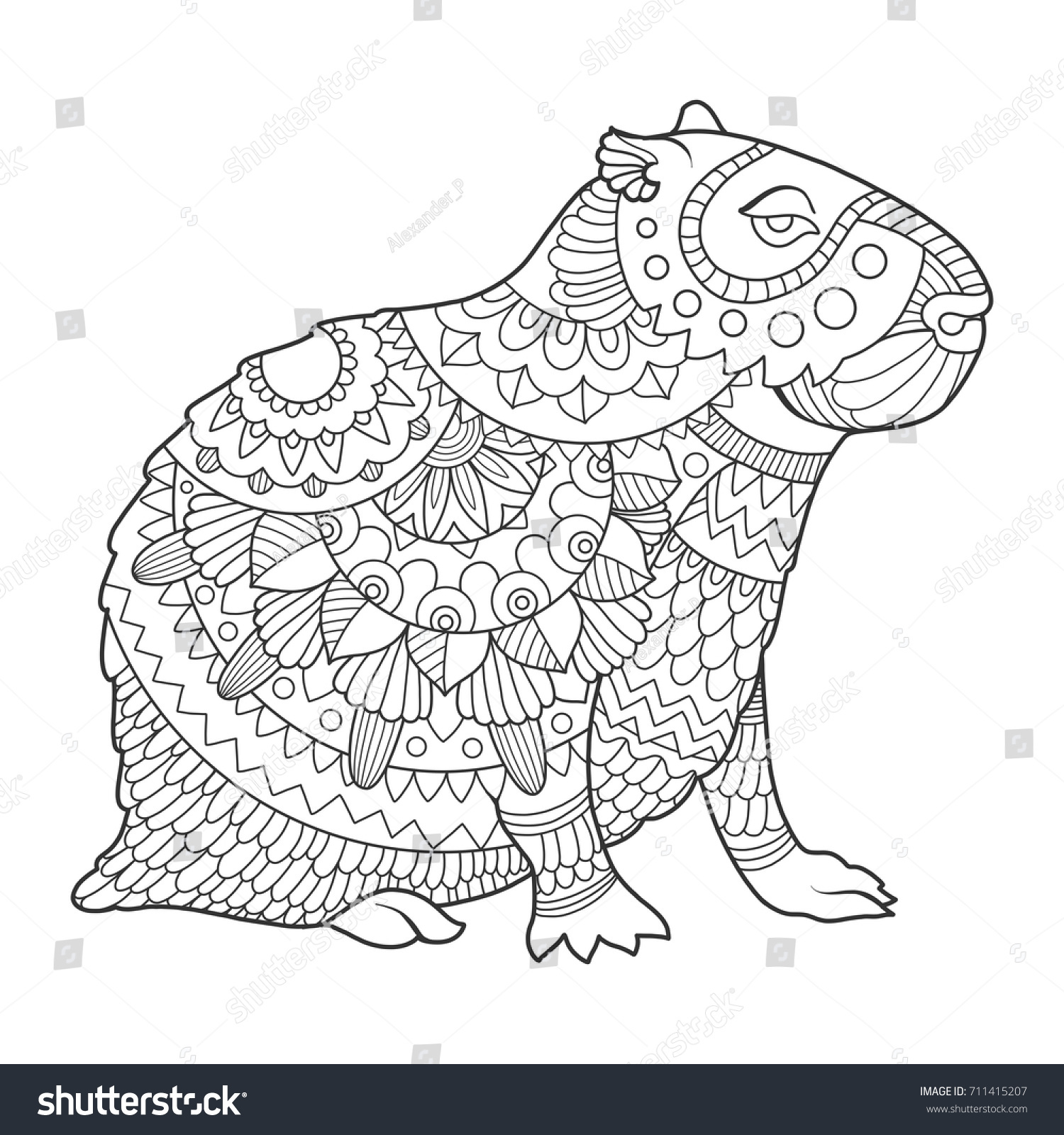 Capybara Rodent Animal Coloring Book Vector Vector de stock (libre ...