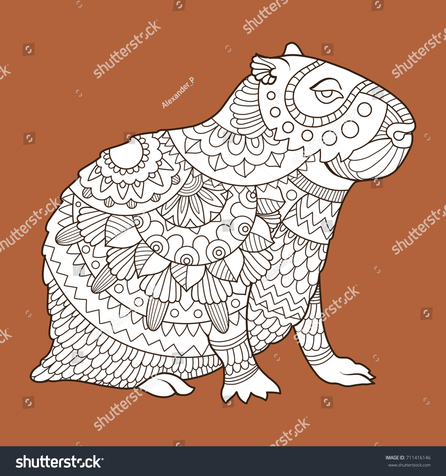 Capybara Rodent Animal Fashion Raster Illustration Ilustración de ...