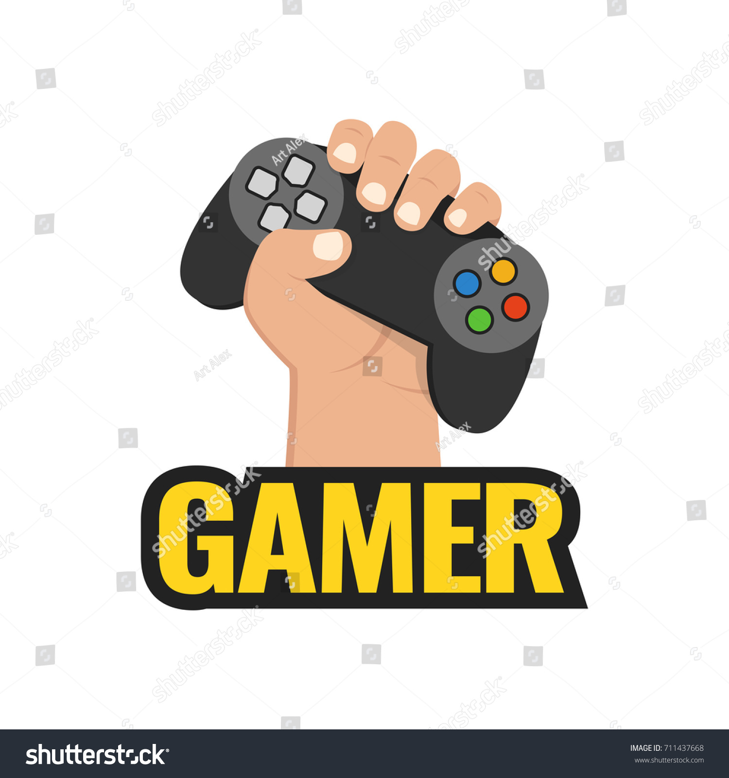 Fist hand with gamer joy stick. Vector illustration.