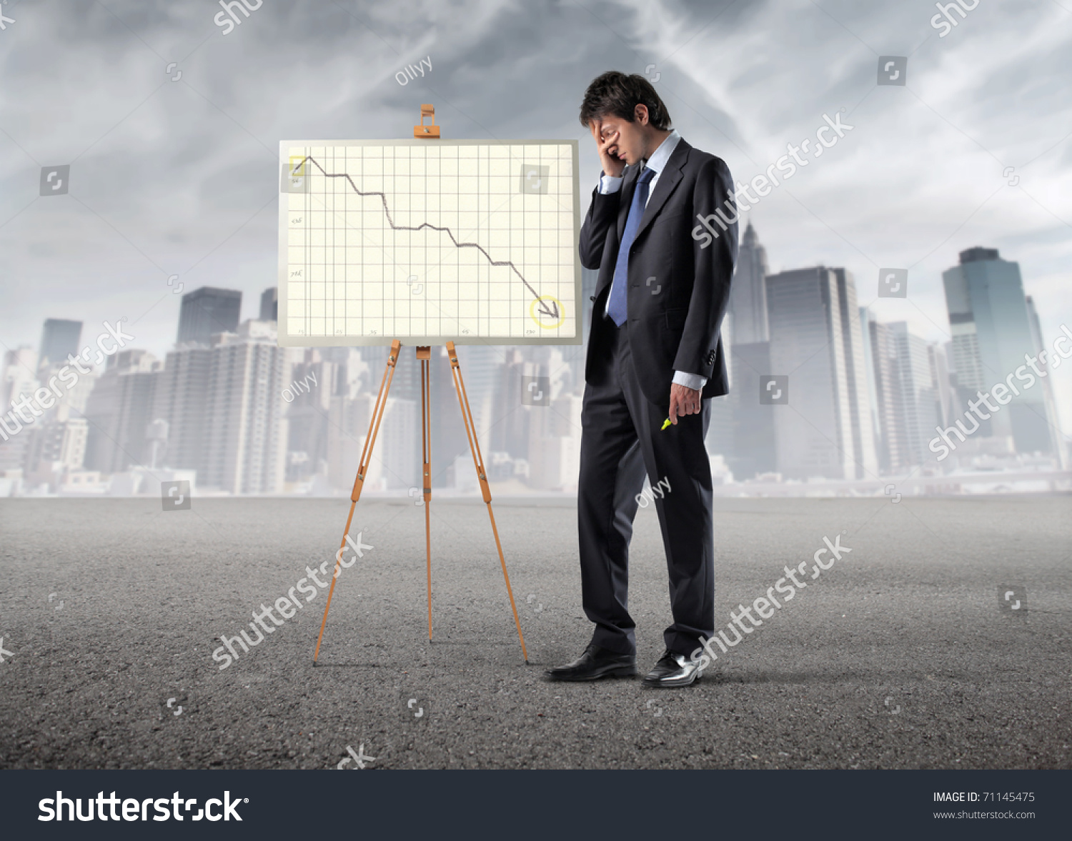 Sad Businessman Standing Beside A Graphic With Negative