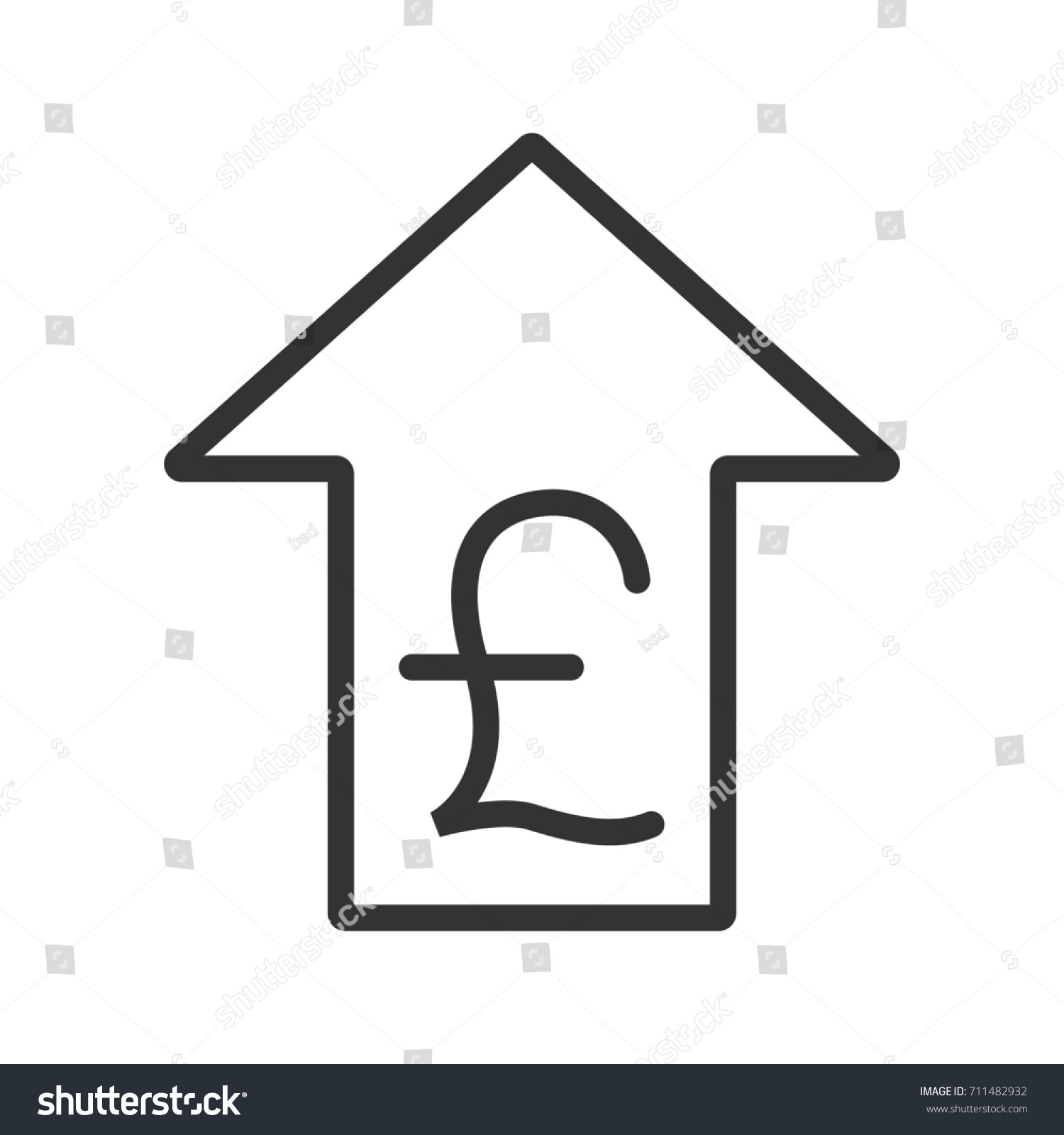 Pound Rate Rising Linear Icon Thin Stock Illustration 711482932