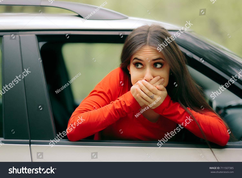 Car Sick Woman Having Motion Sickness Stock Photo