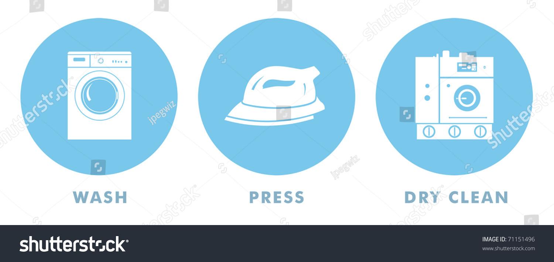 Laundry Symbols Wash Press Dry Clean Stock Illustration 71151496