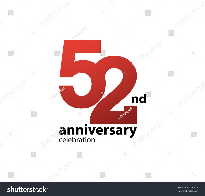 52nd Anniversary Celebration Logotype Anniversary Logo Stock Vector ...
