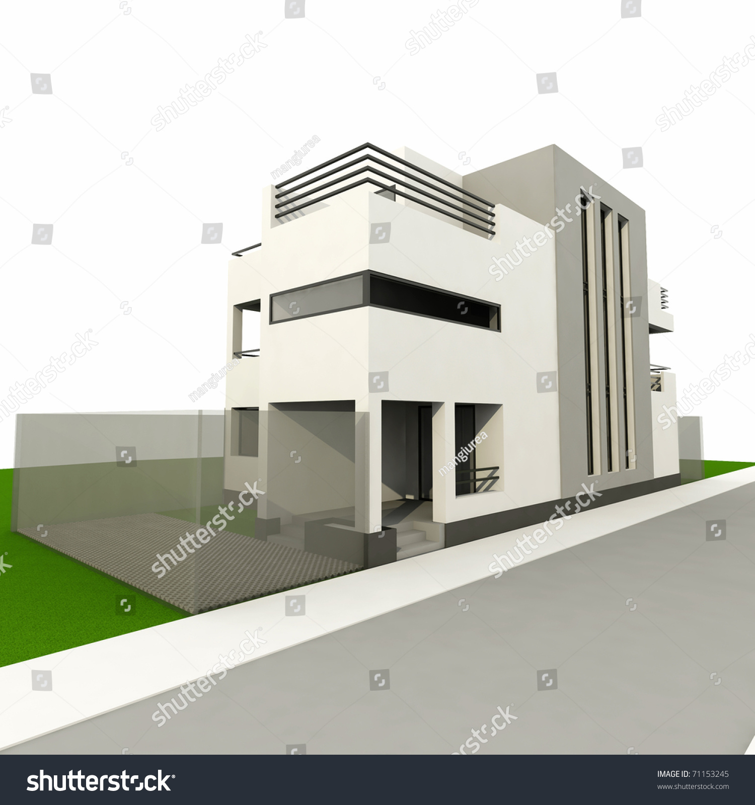 Paint colors for living room with brown furniture - 3d Modern House Ender 3ds Max Stock Illustration 71153245