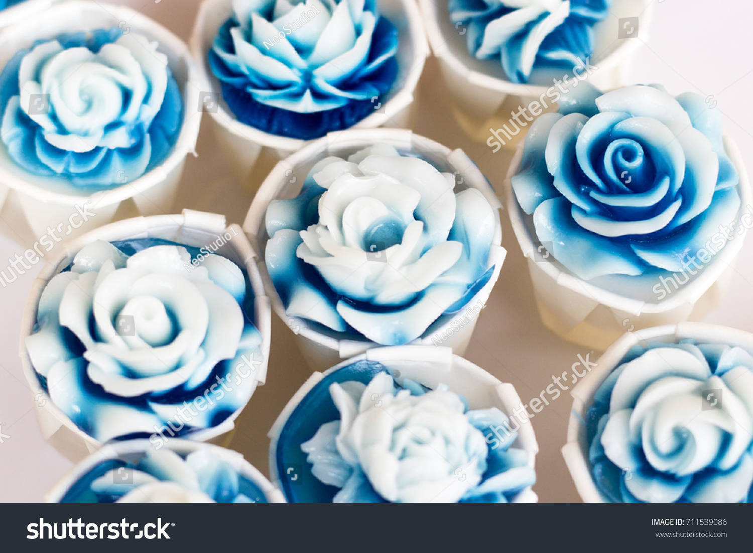 Cupcakes White Blue Flower Blue Rose Stock Photo Edit Now 711539086